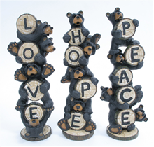 Hope Love Peace Stacked Bear
