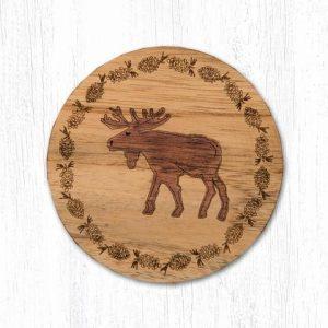 Wood Moose Coaster